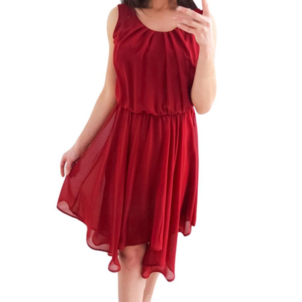 Mini Dress, Changeshopping Women's O-Neck Chiffon Sleeveless Party Casual Loose CHANGE-1679712