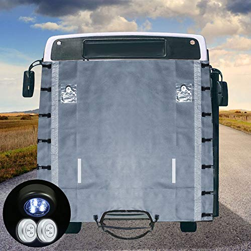 Caravan Front Towing Cover Universal Protector Covers Accessories With 7 Upgraded Fasteners Each Side, 4 High Reflective Strips,2 LED Lights In 2 Front Clear Pocket 220x 175cm(86.61''* 68.90'')