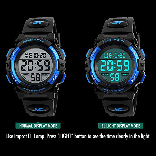 Mico Boys Digital Watch for Teen Boys, Girl Watch Toys for 6-13 Year Old Boy Girls Gift for Teen Boys Age 9-15 Present Waterproof Led Watches (A-blue) by Mico (Image #3)