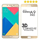 Tingtong Full Glue Samsung Galaxy A9 Pro Full Coverage 5D Tempered Glass, Full Edge-to-Edge 5D Screen Protector (Gold)