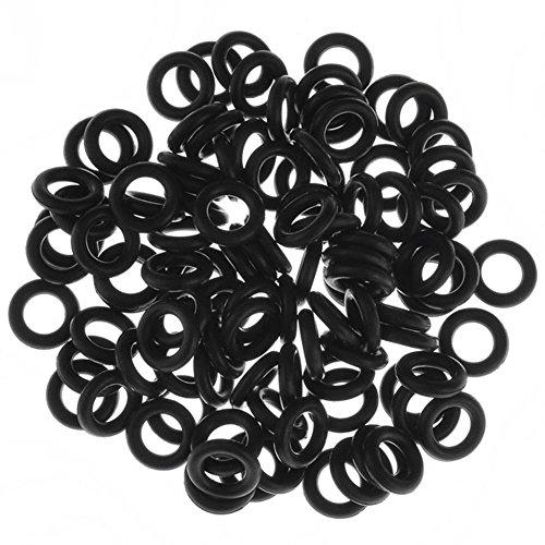 PiercingJ 100pcs Black O-Ring for Ear Piercing Gauge Kit 14G 12G 10G 8G 6G 4G 2G 0G 00G 1/2