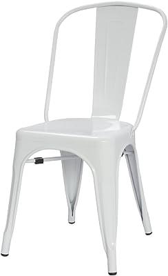 ModHaus White Xavier Pauchard Tolix A Style Chair in Powder Coat Finish Galvanized Steel Metal Stackable