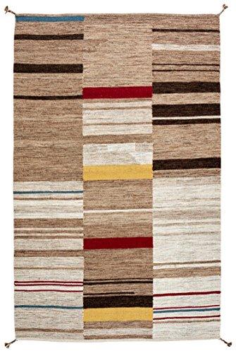 Stone & Beam Modern Gabbeh Inspired Wool Rug, 5' x 8', Sand (Gabbeh Sand)