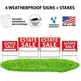 Estate Sale Signs With Stakes + BONUS Waterproof Flyer Holder + Permanent Marker - WDS Premium Yard Sign Bundle - Reusable Double-Sided - 4 Pack - NEW FOR 2018! TALLER YARD STAKES + BONUS FLYER BAG