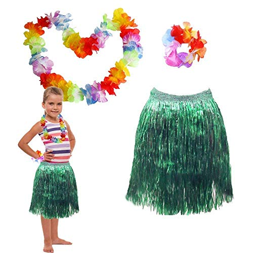 Toy Cubby Party Luau Hawaiian Flower Leis Necklace, Bracelet, Grass Skirt, Headband and Choker Set