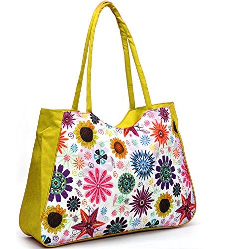 Gyoiamea B126 - Bolso al hombro para mujer Amarillo amarillo larghezza:53cm altezza:36cm profondità:20cm Amarillo