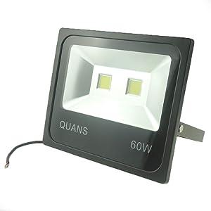 QUANS 60W Cool White 12V 24V 36V 48V 60V DC AC LED Outdoor Security Wash Marine Wall Flood Light Lamp, IP65 Waterproof 12-60VDC AC Input Low Voltage