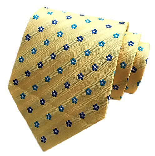 Secdtie Men's Yellow Blue Floral Silk Cravat Ties Jacquard Woven Neckties H06