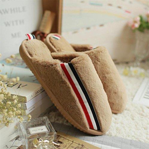 mhgao Lady Zapatillas de algodón caliente en otoño y invierno casa zapatillas de antideslizante caqui