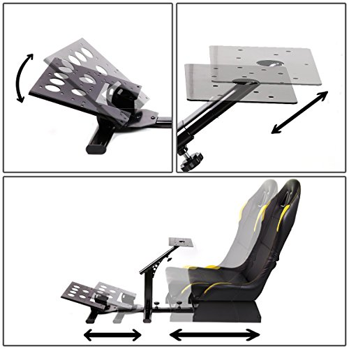 Racing Seat Driving Simulator Cockpit Adjustable Gaming Chair Steering Wheel//Pedal//Gear Shifter Mount Yellow