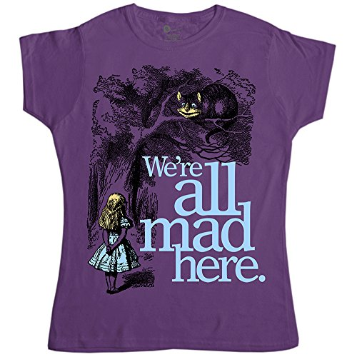 Refugeek Tees - Womens Alice In Wonderland T Shirt - We're All Mad Here - Heather Purple - XL (14-16)
