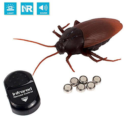 Fashionclubs RC Infrared Remote Control Realistic Fake Cockroach Toy,Halloween Gift For Prank Joke or Trick Bugs