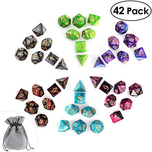 iBaseToy 6 x 7-Die 42 Packs Assorted Polyhedral Dice Set for Dungeons and Dragons DND RPG MTG Table Games with Grey Thickened Velvet Drawstring Bag