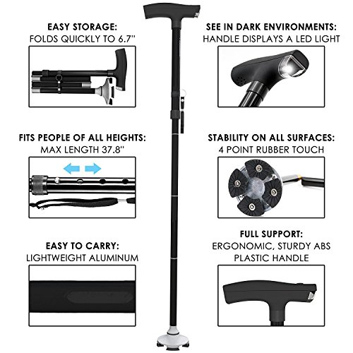 Adjustable Foldable Walking Cane: Walk Confidently! LED Light on Sticks Handle. Elderly Men & Women Canes. Support & Balance Up Down Stairs, Collapsible Folding Pole Monopod Stick. Urban Hiking Poles