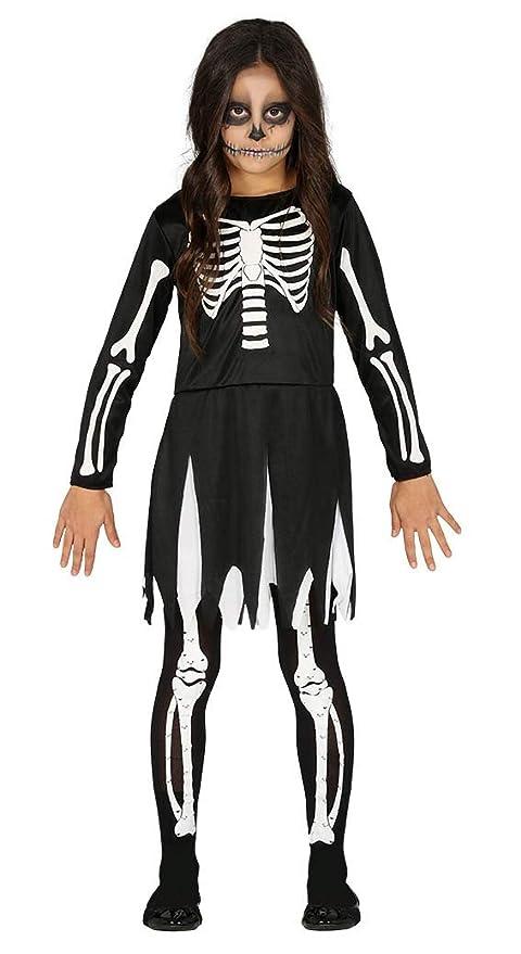 Guirca Disfraz de Esqueleto Negro para Niña: Amazon.es ...