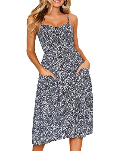 Salimdy Womens Floral Spaghetti Strap Summer Bohemian Front Button Midi Dress with Pockets (XXX-Large, Navy Blue-2) ()