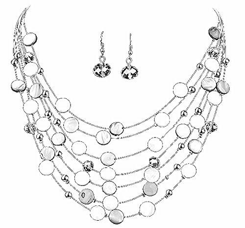 parure collier et boucles blanc métal