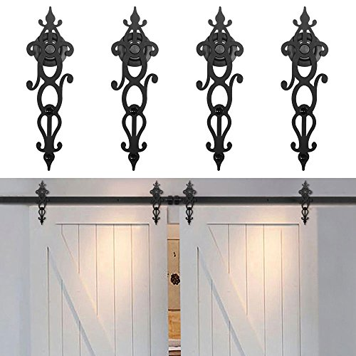 WINSOON New Style Rustic Double Barn Wood Interior Sliding Door Hardware Kit Retro Roller Track Cabinet Closet Kit (10FT)