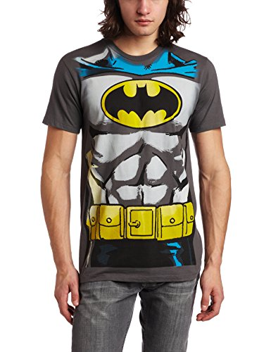 [Bioworld Men's Batman Muscle Costume Tee, Charcoal, Large] (Flash Muscle Shirt Costumes)