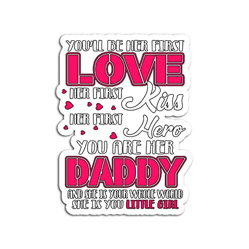 Hand Wooden Customizable Sticker Dad Be Her First Love Kiss Hero Daughter Little Girl Stickers for Personalize (3 pcs/Pack) (Best Sexting Messages To A Girl)