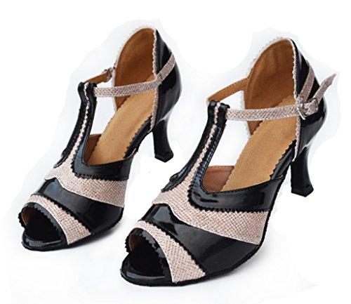 Crc Femmes Élégant Peep Toe T-strap Sunthetic Salle De Bal Morden Salsa Latin Tango Parti Mariage Professionnel Danse Sandales Noir