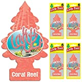 Automotive : Little Trees Car Air Freshener | Hanging Tree Provides Long Lasting Scent for Auto or Home | Coral Reef, 6-Packs (4 Count)