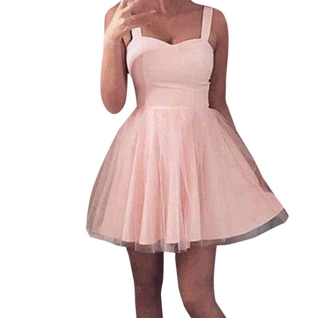 TIMEMEAN Mujer Vestido Encaje Corto C/óCtel De Tul Noche De Baile Partido Vestido De Dama De Honor Vestido