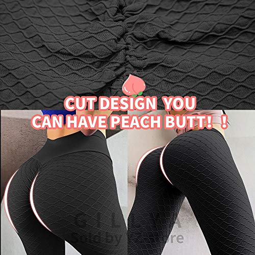GILLYA Butt Lift Yoga Pants Ruched Butt Leggings Butt Lift Textured High Waisted Booty Lifting Anti-Cellulite Leggings 4