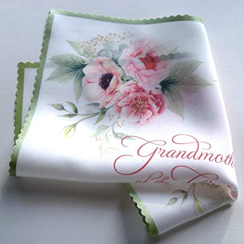 Grandmother of the Groom silk handkerchief with pink peonies in a gift box