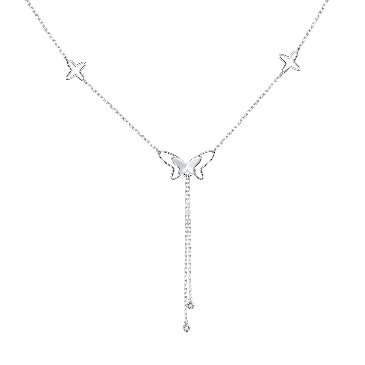 Butterfly Necklace 925 Sterling Silver Cz Butterfly Choker Y Necklace for Women Girls,16+2 inch