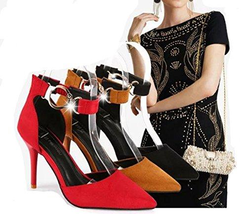 Ein bißchen 2018 Damen Elegant Knöchelriemchen Einfarbig Schuhe mit Schnappverbindung Schwarz