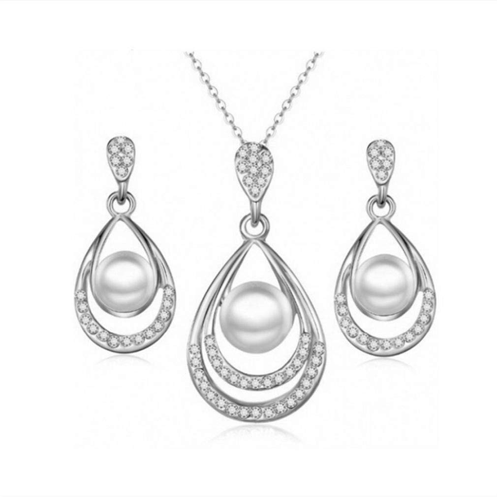 Rurah Pearl Necklace Set Includes Necklace Stunning Stud Earrings Jewelry for Women Three Piece Jewelry