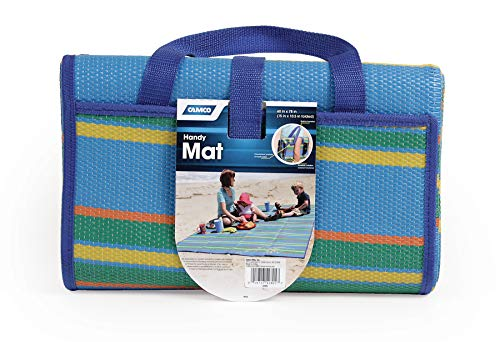 Camco Handy Mat with Strap, Perfect for Picnics, Beaches, RV and Outings, Weather-Proof and Mold- Mildew Resistant (Blue/Green - 60
