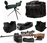 25-75x75 Rubber Armored Sniper Spotter Hunting Spotting Scope + Tripod + Sunshade + QD Shooting Rifle Shotgun & Muzzle Loader Steady Shooter Support Bag Set + Range Bag with Magazine Ammo Pouches