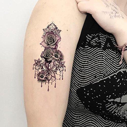 TAFLY Waterproof Temporary Tattoo Sticker Lace Rose Tattoo Water Transfer Tattoo Fake Tattoo for Women 5 Sheets