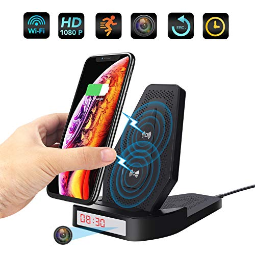 SUSZAVSS WiFi Charger Hidden spy Camera, hd 1080P Wireless Charger with Motion Detection Nanny Camera, for Application Control and Remote Real-time View Hidden Camera Recorder Family surv