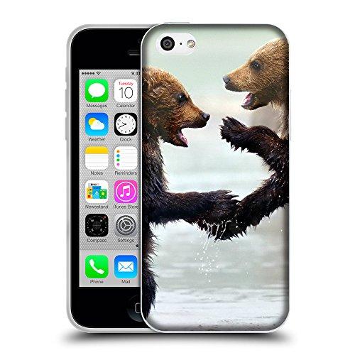 Just Phone Cases Coque de Protection TPU Silicone Case pour // V00004100 Oursons soutiennent dans l'eau // Apple iPhone 5C