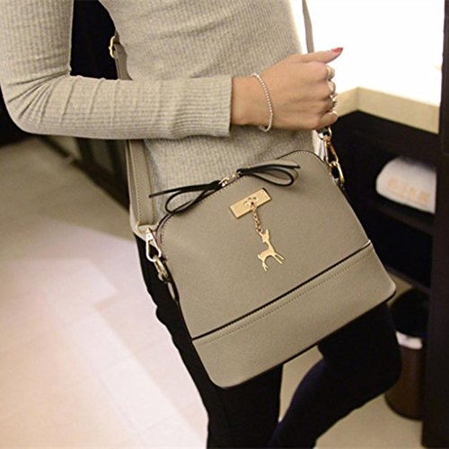 Tassel Small CieKen Clearance Bag with with Crossbody Gray Lightweight Medium Pendant Deer rYa8nwaAq