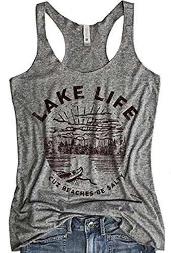 kikisa Lake Life Tank Tops Women Letter Print Sleeveless T Shirts Causal Racerback Tops (Medium, Grey)