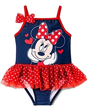 Infant Girls Blue & Red Polka Dot Tutu 1 Piece Swimming Suit