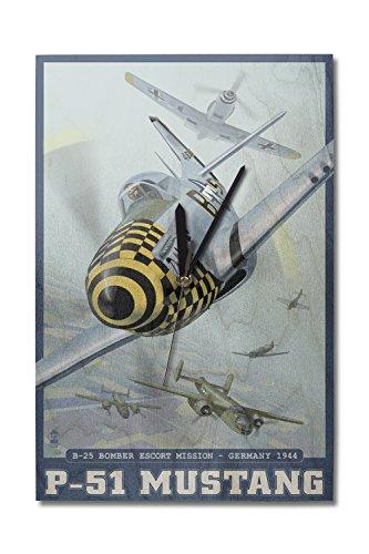 B-25 Bomber Escort Mission - P-51 Mustang (10x15 Wood Wall Clock, Decor Ready to Hang) (Clock P Mustang 51)