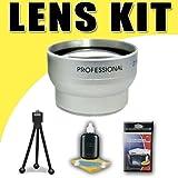 2X Telephoto Lens for Canon HFM30 HFM31 HFM32 HFM300 HF200 HG21 HG11 HF20 HF100 Camcorders DavisMAX Accessory Bundle