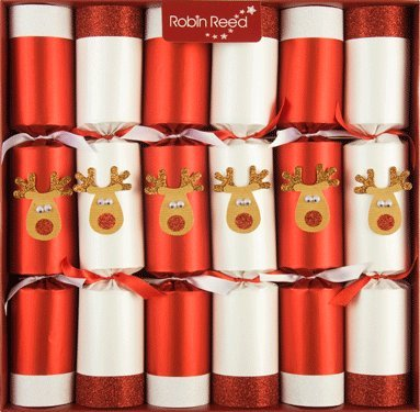 6 x 13 traditional english christmas crackers racing reindeers