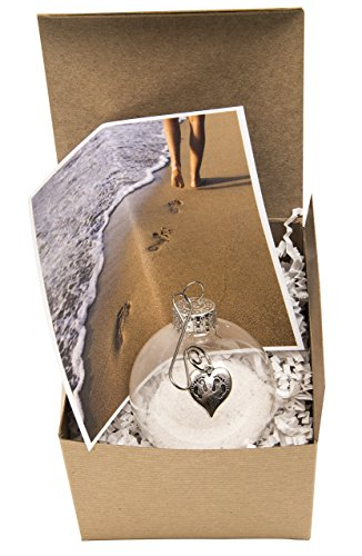 Glass Globe and Beach Sand and Footprints Ornament. When God Carries Us Bible Story Gift of Love and Encouragement. Get Well, Loss or Inspirational Present. Gift Box and Card included.