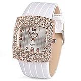 ELEOPTION Women's vintage Square Watch Leather Band Square Dial Quartz Analog Rhinestone Wristwatch for Lady Girls Best Gift (White)