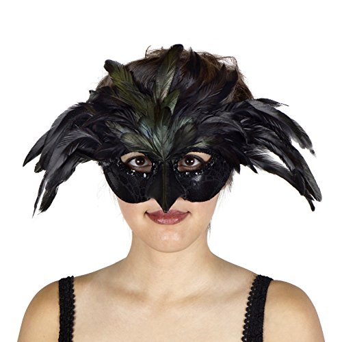 Zucker Feather Products Raven Feather Mask, Black