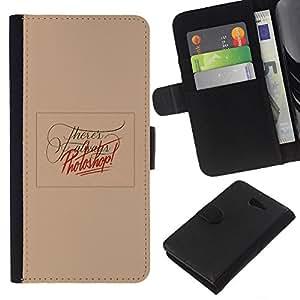 iBinBang / Flip Funda de Cuero Case Cover - Edición de fotos Peach divertido texto Red - Sony Xperia M2