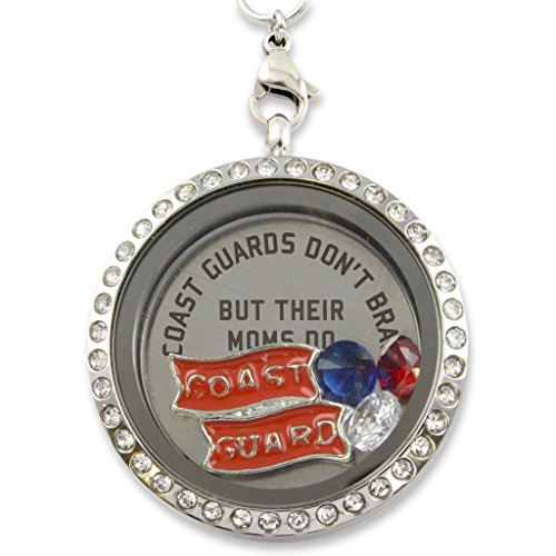 "(""Coast Guards Moms Brag"" Floating Charm Living Memory Locket Magnetic Closure 30mm Stainless Steel Pendant Necklace with Crystal Charms)"