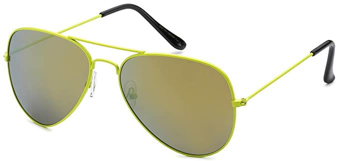 9cf9a48d6be Image Unavailable. Image not available for. Color  Aviator Style Mirrored Lens  Glasses Yellow-Green Metal Frame Gold Color Lens OWL