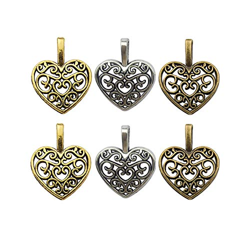 120pcs Antique Gold Silver Bronze Mixed Heart Charms Pendants for Jewelry Making Findings Accessory for DIY Bracelet Necklace M251 ()